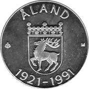 Finland 100 Markkaa Aland 1991 P-M KM# 70 ÅLAND M 1921-1991 coin reverse