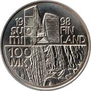 Finland 100 Markkaa Alvar Aalto 1998 M-G KM# 87 1998 SUOMI FINLAND 100 MK M coin reverse