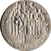 Finland 100 Markkaa Disabled War Veterans Association 1990 P-M KM# 67 1990 P SOTAINVALIDIEN VELJESLIITTO 50 V. coin obverse