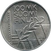 Finland 100 Markkaa European Championships in Athletics 1994 P-M KM# 78 100 MK SUOMI FINLAND M coin obverse