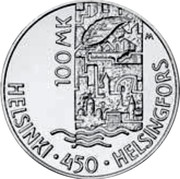 Finland 100 Markkaa Helsinki Cultural Capital 2000 P-M KM# 93 100 MK M HELSINKI 450 HELSINGFORS coin reverse