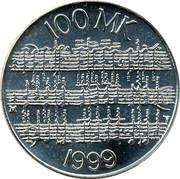 Finland 100 Markkaa Jean Sibelius 1999 P-V-M KM# 89 100 MK 1999 coin reverse