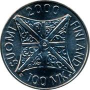 Finland 100 Markkaa Jubilee Year 2000 2000 M L-M KM# 92 SUOMI 2000 FINLAND M 100 MK L coin obverse