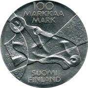Finland 100 Markkaa Pictorial Arts of Finland 1989 P-M KM# 75 100 MARKAA MARK SUOMI FINLAND M coin reverse