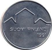 Finland 100 Markkaa World Ice Hockey Championships 1991 L-M KM# 69 M*L SUOMI FINLAND 1991 coin obverse