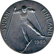 Finland 100 Markkaa World Nordic Skiing Championships 1989 M-L-M KM# 74 SUOMI FINLAND 1989 coin obverse