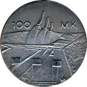 Finland 100 Markkaa World Nordic Skiing Championships 1989 M-L-M KM# 74 100 MK ML M coin reverse