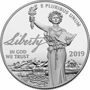 USA $100 Preamble to the Declaration of Independence 2019 W Proof; Maximum authorized mintage UNITED STATES OF AMERICA $100 1 OZ. .9995 PLATINUM W DE PLM coin reverse