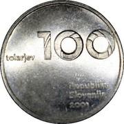 Slovenia 100 Tolarjev Tolar Anniversary 2001 KM# 42 100 TOLARJEV REPUBLIKA SLOVENIJA 2001 coin obverse