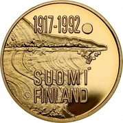Finland 1000 Markkaa 75th Anniversary of Independence 1992 M-S KM# 72 1917-1992 SUOMI FINLAND coin obverse