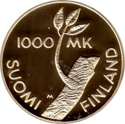 Finland 1000 Markkaa 80th Anniversary of Independence (1997) M-P Proof KM# 86 1000 MK M SUOMI FINLAND coin obverse