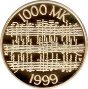 Finland 1000 Markkaa Jean Sibelius 1999 P-V-M Proof KM# 90 1000 MK V 1999 coin reverse