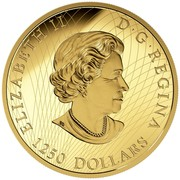 Canada 1250 Dollars Roaring Grizzly Bear 2016 Proof ELIZABETH II D∙G∙REGINA 1250 DOLLARS coin obverse