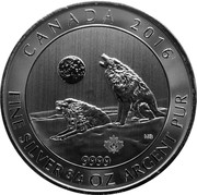 Canada 2 Dollars Howling Wolves 2016 KM# 1915 CANADA 2016 FINE SILVER 3/4 OZ 9999 ARGENT PUR MB coin reverse