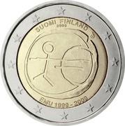 Finland 2 Euro 10 Years of EMU 2009 Proof KM# 144 SUOMI FINLAND 2009 EMU 1999 - 2009 coin obverse