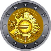 Slovenia 2 Euro 10 Years of Euro Banknotes and Coins 2012 Proof KM# 107 SLOVENIJA A.H. € 2002 2012 coin obverse
