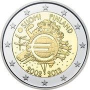 Finland 2 Euro 10 Years of Euro Cash 2012 Proof KM# 178 SUOMI FINLAND A.H. € 2002 2012 coin obverse