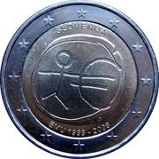 Slovenia 2 Euro 10th Anniversary of the European Monetary Union 2009 KM# 82 EMU 1999-2009 SLOVENJIA coin obverse