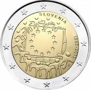 Slovenia 2 Euro 30 Years of EU Flag 2015 only unc 1 million coins SLOVENIJA 1985-2015 LL coin obverse