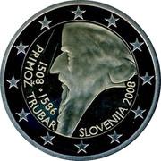 Slovenia 2 Euro 500th Anniversary of Primoz Trubar 2008 KM# 80 SLOVENIJA 2008 1508 ∙ 1586 PRIMOŽ TRUBAR coin obverse