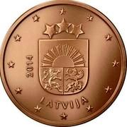 Latvia 2 Euro Cent Lesser Coat of Arms 2014 KM# 151 YEAR LATVIJA coin obverse