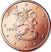 Finland 2 Euro Cent The Heraldic Lion of the Coat of Arms of Finland 1999 M KM# 99 DATE coin obverse