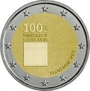 Slovenia 2 Euro Centenary of the foundation of the University of Ljubljana 2019 100 LET UNIVERZE V LJUBLJANI SLOVENIJA 2019 coin obverse