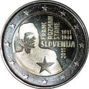 Slovenia 2 Euro Franc Rozman 2011 KM# 100 FRANC ROZMAN STANE 1911 1944 SLOVENIJA 2011 coin obverse