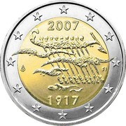 Finland 2 Euro Independence 2007 M Proof KM# 139 2007 FI 1917 coin obverse