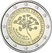 Slovenia 2 Euro Ljubljana Botanical Garden 2010 Proof KM# 94 200 LET ∙ BOTANICNI VRT ∙ LJUBLJANA ∙ SLOVENIJA 2010 ∙ HLADNIKIA PASTINACIFOLIA coin obverse