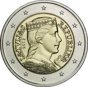 Latvia 2 Euro The Latvian Maiden 2015 Proof KM# 157 LATVIJAS REPUBLIKA 2014 coin obverse