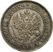 Finland 2 Markkaa Toothed rim 1874 S KM# 7.2 47.24 KAPPALETTA NAULASTA SELWÄÄ HOPEATA. coin obverse