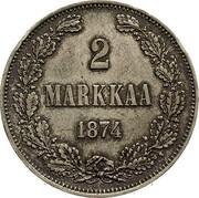 Finland 2 Markkaa Toothed rim 1874 S KM# 7.2 2 MARKKAA 1908 coin reverse