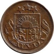Latvia 2 Santimi 1922 Without mint name below ribbon KM# 2 First Republic (1918-1939) LATVIJA coin obverse