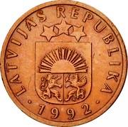 Latvia 2 Santimi 1992 KM# 21 Standart Coinage LATVIJAS REPUBLIKA YEAR coin obverse