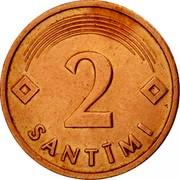 Latvia 2 Santimi 1992 KM# 21 Standart Coinage 2 SANTĪMI coin reverse