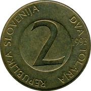 Slovenia 2 Tolarja 1993 KM# 5 Standart Coinage REPUBLIKA SLOVENIJA DVA TOLARJA 2 YEAR coin obverse