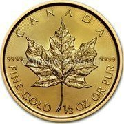 Canada 20 Dollars Maple Leaf 2017 CANADA 9999 FINE GOLD 1/2 OZ OR PUR 9999 coin reverse
