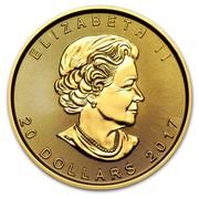 Canada 20 Dollars Maple Leaf 2017 ELIZABETH II 20 DOLLARS DATE coin obverse