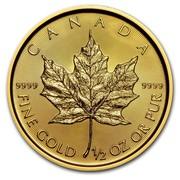 Canada 20 Dollars Maple Leaf 2017 CANADA 9999 FINE GOLD 1/2 OZ OR PUR 9999 coin reverse