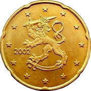 Finland 20 Euro Cent 1st map 2002 M Proof KM# 102 coin obverse