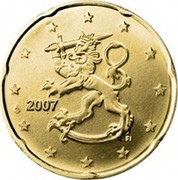 Finland 20 Euro Cent 2nd map 2007 FI Proof KM# 127 coin obverse