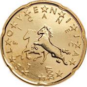 Slovenia 20 Euro Cent Lipizzaner 2007 KM# 72 SLOVENIJA LIPICANEC coin obverse