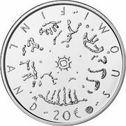 Finland 20 Euro Literacy 2014 Proof KM# 216 SUOMI FINLAND 20€ coin reverse