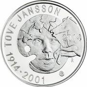 Finland 20 Euro Tove Jansson 2014 Proof KM# 218 TOVE JANSSON 2014 1914 2001 coin reverse