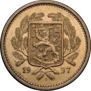 Finland 20 Markkaa 1937 S KM# 32 Decimal Coinage DATE coin obverse