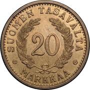 Finland 20 Markkaa 1937 S KM# 32 Decimal Coinage SUOMEN TASAVALTA 20 MARKKAA coin reverse