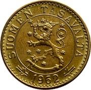Finland 20 Markkaa 1962 S KM# 39 Decimal Coinage SUOMEN TASAVALTA DATE coin obverse