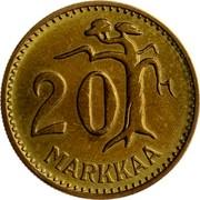 Finland 20 Markkaa 1962 S KM# 39 Decimal Coinage 20 MARKKAA coin reverse