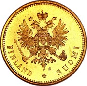 Finland 20 Markkaa Wide eagle 1913 S KM# 9.2 5,806.. GRM. KULTAA. 0,645.. GRM. KUPARIA 20 MARKKAA 1880 coin obverse